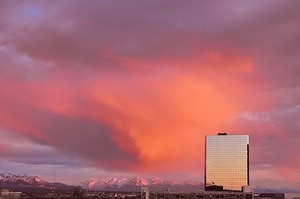Red cloud over Anchorage