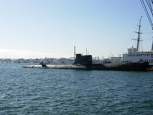 Submarine in the harbor