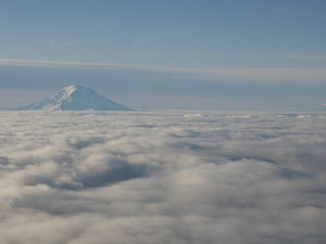 Starting from Seattle: Mount Rainier in view. Picture by Mike.