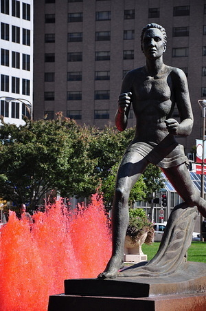 Statue in a red fountain