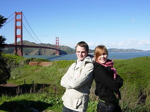 Once more posing in front of the bridge: Hanna and Ludvig